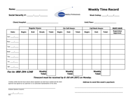 Weekly Time Record Fillable Online Week Ending Fax Email Print Pdffiller