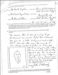 "jfk s harvard application aka nepotism is at work here terrible  college essay reads ""the reasons that i have for wishing to go to harvard are several i feel that harvard can give me a better background and a better"