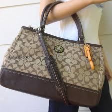 Camel Coach Business Tote Large Executive Laptop Bag Khaki Signature Brown Leather  Coach .