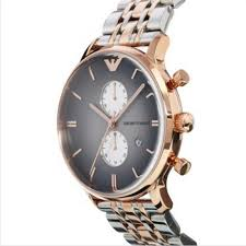 armani classic ar1721 grey mens gold chronograph watch emporio armani ar1721 mens grey and rose gold ip gianni watch