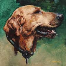 custom dog painting pet portrait in oil on canvas by heather lenefsky art