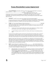 Lease Agreement Format Free Texas Standard Residential Lease Agreement Template