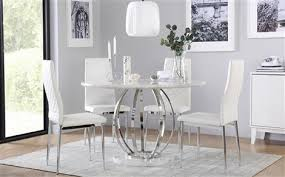 savoy round white marble and chrome dining table with 4 renzo white chairs