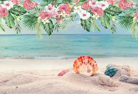 Tropical Beach Photography Backdrop Hawaii Summer Birthday Luau Party Flowers Photo Background Baby Shower Booth Banner W1872
