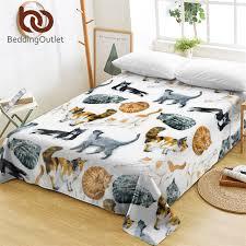 bedding cute cats bed sheets cartoon flat sheet for kids bedroom watercolor pet print bed linen