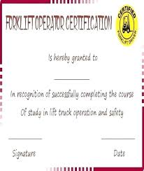 Free Forklift Certificate Template Forklift Operator Certification Requirements
