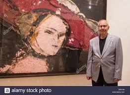 london uk 9 june 2016 pictured spanish artist manolo valdes at the exhibition with his painting cranach como pretexto 2016 marlborough fine art