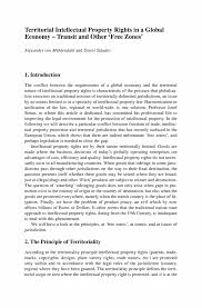 territorial intellectual property rights in a global economy inside