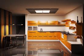 modern kitchen furniture. Modern Kitchen Furniture With Orange Color