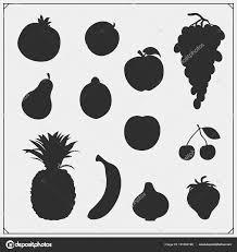白い背景で隔離の果物や果実のシルエットのベクター セット ストック