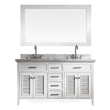 Asian Bathroom Vanity Cabinets Shop Ariel Kensington White 61 In Undermount Double Sink Asian