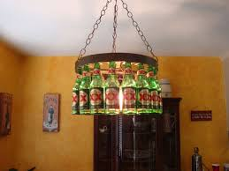 unusual beer bottle chandelier for diy pendant light with orange wall color and brown glass cabinet idea