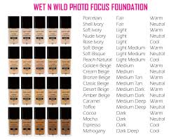 Foundation Shade Comparison Chart Beauty Wet N Wild Photo Focus Foundation Shade Reference