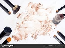 frame makeup brushes white background tered face powder stock photo