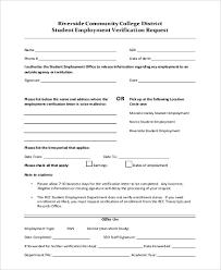 Request Employment Verification Letter Free 8 Sample Employment Verification Request Forms In Pdf