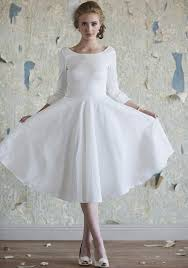 Elegant A Line Jewel Length Sleeves Tea Length Wedding Dress White Tea Length Wedding Dress