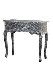 chaandhi kar black silver embossed 3 drawer console table for at