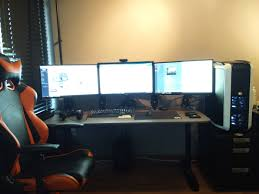 creative of triple monitor desk setup with my first triple monitor setup battlestations