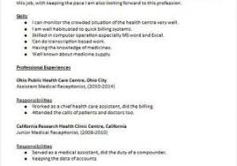 Medical Office Receptionist Resume From Resume Objective Medical
