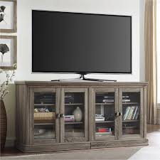 ameriwood home bennett tv stand with glass doors for tvs up to 70 medium oak com
