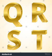 Letters Q to T color gold 3D style.