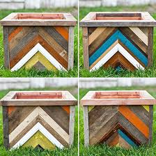 Amazing wooden garden planters ideas try Raised Bed Diy Chevronpatterned Reclaimed Wood Planter Box Homedit Top 30 Planters Diy And Recycled