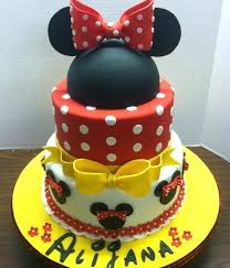 Red Minnie Mouse Cake Hand Painted With Edible Food Coloring Image