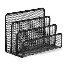 3 sections metal desk mesh letter paper stacking sorter holder collection organizer black