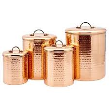 kitchen items store: keep your kitchen supplies fresh by storing them in this beautiful hammered copper canister set