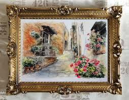 Details About House Flowers Street Repro Production Artworks By Contemporary Painters 70x90