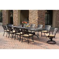 patio furniture outdoor dining sets darlee ocean view antique bronze cast aluminum rectangular extension 11 piece dining set