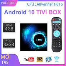 T95 tivi box 2GB RAM 16GB ROM Android 10 4GB 32GB H616 2.4G WiFi 4K Trình  phát đa phương tiện thông minh Set Top Box giá rẻ 839.000₫