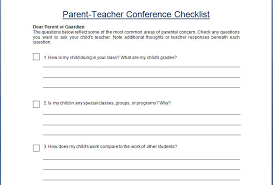 student conference form conference checklist template