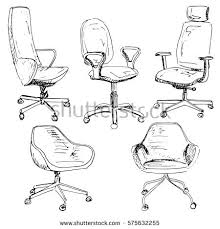 office chair drawing. Interesting Chair Set Office Chairs Isolated On White Background Sketch Different ChairsVector  Illustration To Office Chair Drawing