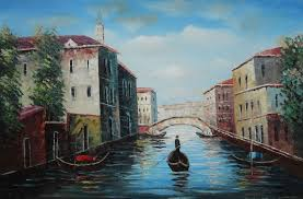 italian venice water street scene oil painting 24 x 36 inches