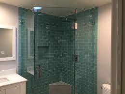 stylish tile shower and shower shelf with frameless glass door also neo angle shower