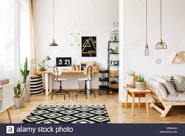 Scandinavian retro furniture Vintage Contemporary Room In Scandinavian Style With Office Interior With Desk Poster Retro Chairs And Cactus And Open Living Room With Sofa And Wooden Furn Alamy Contemporary Room In Scandinavian Style With Office Interior With