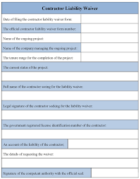 Legal Liability Waiver Form Contractor Liability Waiver Form Printable Latest Frazierstatue 22