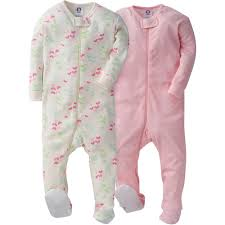 2-Pack Girls Butterflies \u0026 Dots Snug Fit Footed PJs Baby Girl Sleepwear   Gerber Childrenswear