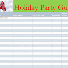 Party List Template Holiday Party Guest List My Excel Templates