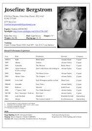 Theatre Resume Modern Template Stupendous Templates Performer