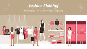 Fashion Banner Fashion Clothing Store Banner With Shop Interior Clothing On