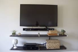 Small Picture White Wooden Wall Shelves Combined With Table For Television And