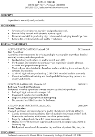 Assembly Line Job Description For Resume Assembler And Letter