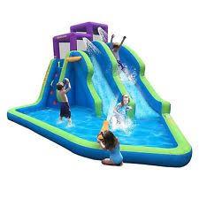 inflatable inground pool slide. Magic Time Twin Falls Outdoor Inflatable Splash Pool Backyard Water Slide Park Inground