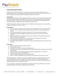 Inside Sales Rep Resume Sample Of Resume For Sales Representative