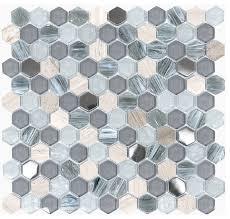 blue gray glass marble hexagon mosaic tile contemporary mosaic tile by backsplash