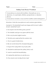 Nouns And Verbs Worksheets Sentences Worksheets For All Download