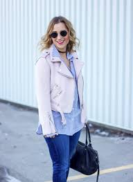 how to wear a pink motorcycle jacket as seen on a fashion blogger