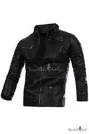 new stylish long sleeve stand up collar simple plain biker jacket